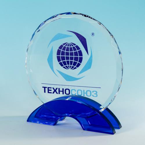 Награда стеклянная на подставке из голубого стекла