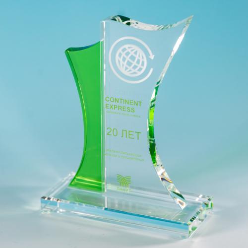 Корпоративный приз и прозрачного стекла с гравировкой